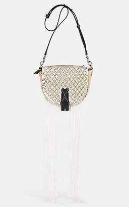 J.W.Anderson WOMEN'S BIKE SMALL LEATHER & RAFFIA SHOULDER BAG - NATURAL