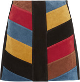 MiH Jeans Chevron patchwork suede mini skirt