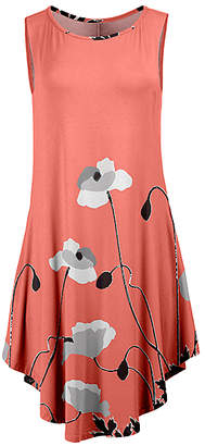 Lily Women's Casual Dresses CRL - Coral & Gray Floral Curved-Hem Sleeveless Dress - Women & Plus