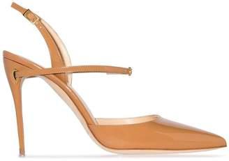 Jennifer Chamandi camel Vittorio 105 patent leather pumps