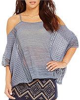 Blu Pepper Knit Lace Cold Shoulder Top