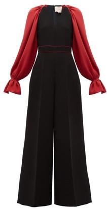 Roksanda Holin Balloon-sleeve Crepe Wide-leg Jumpsuit - Womens - Black Red