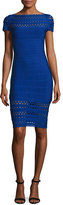 Herve Leger Bateau-Neck Perforated Bandage Dress, Blue
