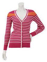 Denim & Co. Long Sleeve V-Neck Stripe Cardigan