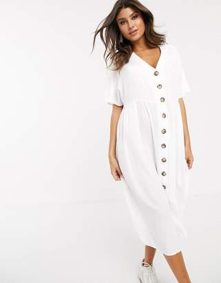 Asos Design DESIGN v neck button through midi smock dress-White