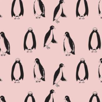 Ikea Swedish Linens - Nudy Pink Cotton Penguins Fitted Toddler Bed Sheet - cotton | Nudy Pink
