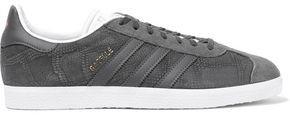 adidas Gazelle Suede-paneled Snake-effect Nubuck Sneakers