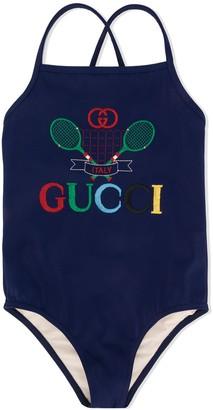 Gucci Kids Tennis Logo Print Swimsuit