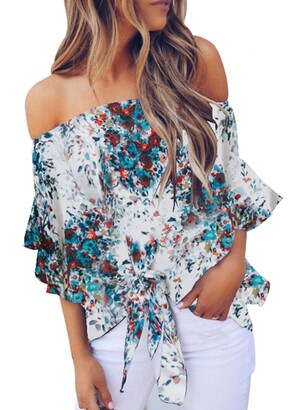 Bdcoco Women's Floral Off The Shoulder Tie Front High Low 3 4 Flare Sleeve Blouses Tops Purple