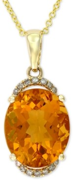 "Effy Citrine (4-5/8 ct. t.w.) & Diamond Accent 18"" Pendant Necklace in 14k Gold"