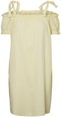Vero Moda Cold Shoulder Striped Cotton Mix Dress