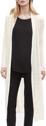 Eileen Fisher Long Organic Linen Blend Crepe Cardigan