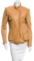 Roberto Cavalli Leather Fitted Jacket
