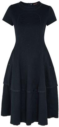 High Logic Navy Floral-jacquard Midi Dress