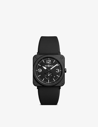 Bell & Ross BRSBLCEM Aviation ceramic and rubber watch, Mens, Size: Small, sapphire