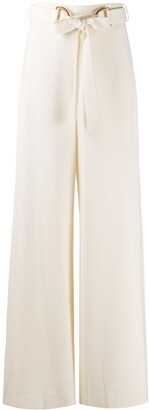 Zimmermann High-Waisted Crepe Belted Trousers