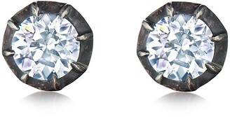 Fred Leighton 18kt yellow gold and oxidised sterling silver Signed diamond Collet set stud earrings
