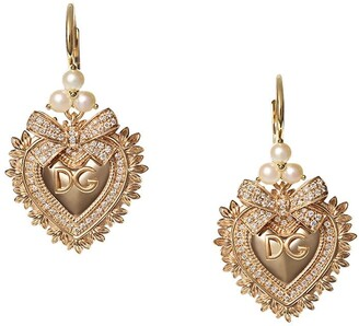 Dolce & Gabbana 18kt yellow gold diamond Devotion earrings
