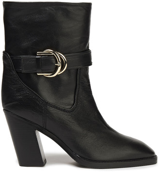 Stuart Weitzman Buckled Leather Ankle Boots