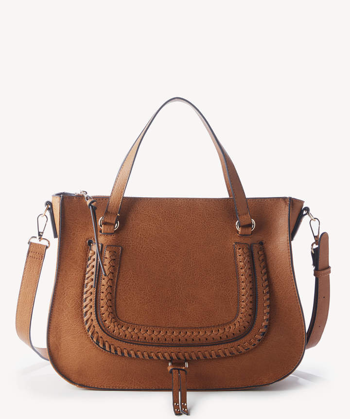 Sole Society Women's Destin Satchel Vegan Studded Whipstich In Color: Pecan Bag Vegan Leather From