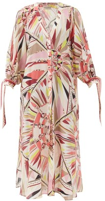 Emilio Pucci Abstract-print Cotton-blend Dress - Pink Print