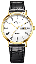 Rotary Gs05303/01 Windsor Day Date Leather Strap Watch, Black/white