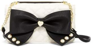 Betsey Johnson Quilted Crossbody Bow Clutch