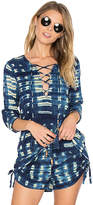 Chaser Bell Sleeve Lace Front Top in Blue. - size L (also in M,S,XS)