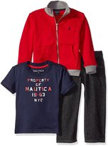 Nautica Little Boys Three Piece Fleece Set with Convertible Collar Jacket Denim Pant