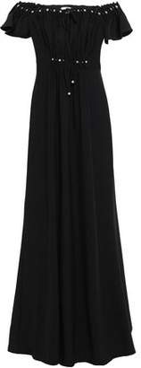 Zac Posen Off-the-shoulder Faux Pearl-embellished Stretch-crepe Gown