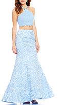 Ellie Wilde Lace Halter Neck Floral-Jacquard Two-Piece Long Mermaid Dress