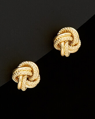 Italian Gold 18K Love Knot Stud Earrings