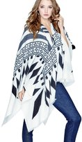 GUESS Women's Tribal Fringed Blanket Scarf