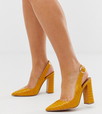 ASOS DESIGN Wide Fit Penley slingback high heels in croc print