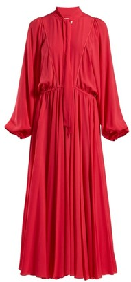 Giambattista Valli Tie Neck Gathered Chiffon Gown - Womens - Fuchsia