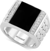 Effy Gento by Men's Onyx (4-9/10 ct. t.w.) and Diamond (1/3 ct. t.w.) Woven Ring in Sterling Silver