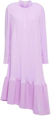 Tibi Asymmetric Fluted Crepe De Chine Midi Dress