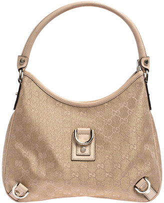 Gucci Beige/Metallic GG Canvas and Leather Small Abbey D Ring Hobo
