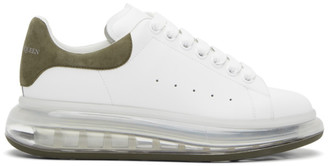 Alexander McQueen White and Khaki Clear Sole Oversized Sneakers