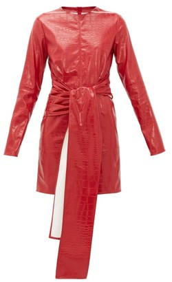 MSGM Crocodile-effect Faux-leather Dress - Red