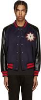 Alexander McQueen Navy and Black Wool Felt Bomber Jacket