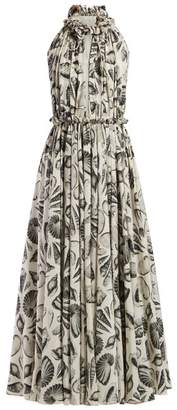 Alexander McQueen Shell Print Silk Gown - Womens - White Black