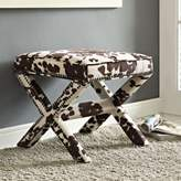 Modway Rivet Fabric Bench in Faux Cow Print