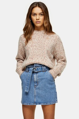 Topshop PETITE Mid Stone Skinny Belted Paperbag Skirt