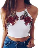 Multitrust Sexy Women Embroidery Rose Backless Crop Top Floral Tank Top Shirt