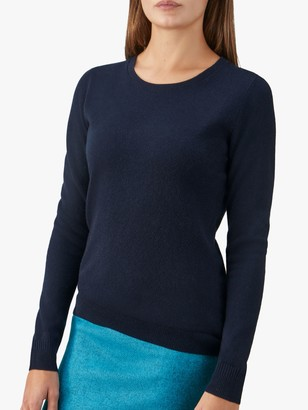 Pure Collection Cashmere Crew Neck Jumper, Navy