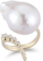 Mizuki Curved Baroque Pearl & Diamond Ring in 14K Gold, Size 7
