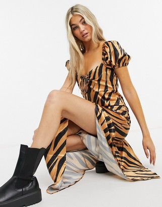 Another Reason maxi tea dress in satin brown zebra print