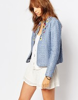 Pepe Jeans Quilted Denim Jacket With Beading