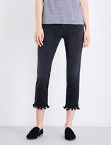 Current/Elliott The Cropped pompom-trim straight high-rise jeans